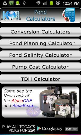 Pond Calculators