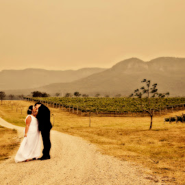 Bush Fires by Alan Evans - People Couples ( bush fires, wedding photography, windy, wedding day, wedding, aj photography, weather, hot day,  )