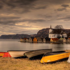 Selje by Rune Askeland - Buildings & Architecture Other Exteriors ( church, nordford, boats, selje, norge, boathouses, fjord )