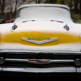 Yellow & Snow, '57 Chevy by Roy Walter - Instagram & Mobile iPhone ( car, automobile, snow, cell phone, '57 chevy, yellow, iphone )