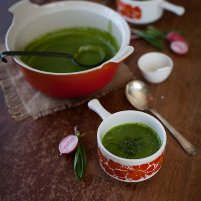 Spring Ramp, Radish & Spinach Soup