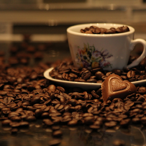I love Coffee by Freda Nichols - Food & Drink Alcohol & Drinks ( cup, chocolate, heart, saucer, beans, coffee, pwc, pwccoffee )
