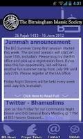 Screenshot of Birmingham Islamic Society App