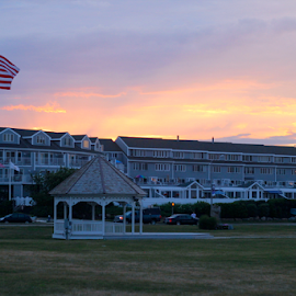 NE Sunset by Kimberly McMichael - Buildings & Architecture Other Exteriors ( #flag #jamestown #sunset #newengland #dusk )