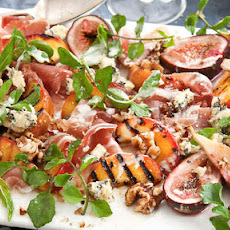 Chargrilled Peach And Roasted Fig Salad With Prosciutto, Creamy Blue Cheese And Walnuts