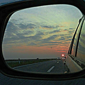 Sunset behind Us by Nat Bolfan-Stosic - Landscapes Sunsets & Sunrises ( red, sky, sunset, behind, car mirror )