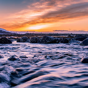 Sunset over river by Benny Høynes - Landscapes Sunsets & Sunrises ( water, sunset, norway, river, colours )