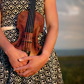 In Loving Hands - The Violinist by Dominic Lemoine Photography - People Musicians & Entertainers ( moorland, uk, violin, wales, woman, outdoor, powys, violinist )