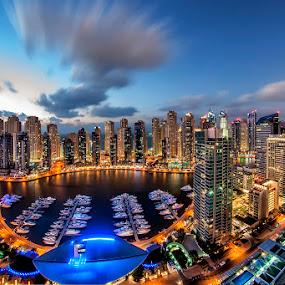 Dubai Marina Dusk by Andrew Madali - City,  Street & Park  Vistas ( dubai, d800, uae, dubai marina, dusk )