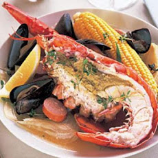 Lobster with Sausage, Mussels, Corn, and Potatoes