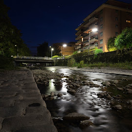 Good night by Olivier Wenger - City,  Street & Park  Night ( vevey, building, night, bridge, river )