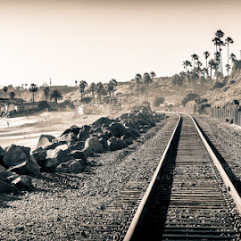 San Clemente 52 by Susan Liepa - Landscapes Beaches ( fence, san clemente, b&w, california, train, ocean, beach, tracks, rocks,  )