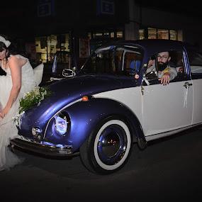 Just Married by Jo Polyxromos - Wedding Bride & Groom ( wedding, greece, transportation, bride, groom )