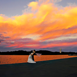 Sunset - Canberra ACT by Alan Evans - Wedding Bride & Groom ( wedding photography, carillion, waterscape, sunset, wedding day, wedding, aj photography, canberra, bride and groom )