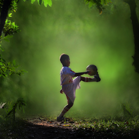 Training Ball by Suloara Allokendek - Babies & Children Children Candids ( training, child, football, play, light )