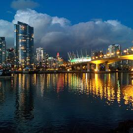 Vancouver Skyline by Dan Su - City,  Street & Park  Skylines ( water, vancouver skyline, false creek, bridge, downtown vancouver, dusk, vancouver )