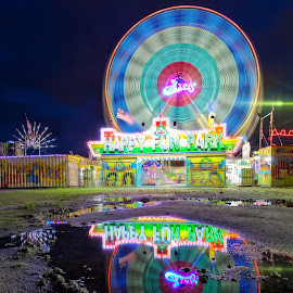 Funfair by Kuen Hoong Lee - City,  Street & Park  Amusement Parks ( funfair, reflection, light painting, long exposure, fun,  )