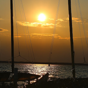 Bay Sunset by Cheryl Thomas - Landscapes Sunsets & Sunrises ( water, bay, sunset, boats, nightscape )