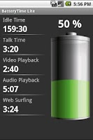 Screenshot of BatteryTime Lite
