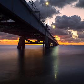 Vada Bridge by Alessandro Genero - Buildings & Architecture Bridges & Suspended Structures ( #sea #water #sunset #bridge #clouds )