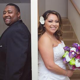 No Peeking! by Jacenta Grover - Wedding Bride & Groom ( no peeking, wedding, indoors, bride, groom )