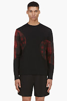 Neil Barrett Black And Red Gingham Check Panel Sweater