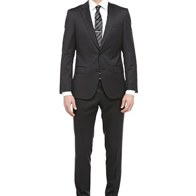 Hugo Boss Harvers Wool Twill Two-Piece Suit, Charcoal - (40L)