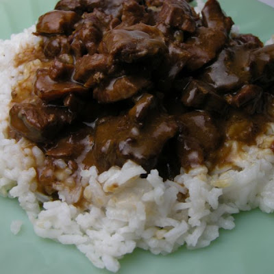 Steak Tips Over Rice