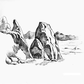 Rock by Pinaki Ranjan Das - Drawing All Drawing ( black and white, rock )