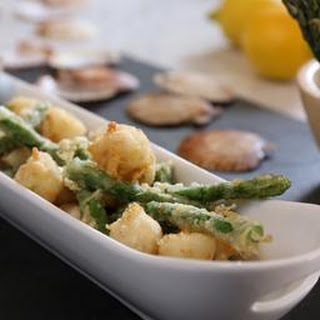 Tempura Scallops And Asparagus With Ponzu Dressing