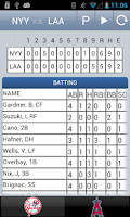Screenshot of MLB Box Score + Widget
