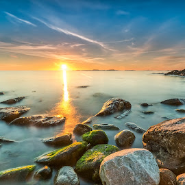 Long exposure sunset at Ølberg by Richard Larssen - Landscapes Sunsets & Sunrises ( richard larssen, larssen, richard )