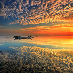Reflections by Hendri Suhandi - Landscapes Cloud Formations ( clouds, karang, bali, sanur, sunrise, beach )