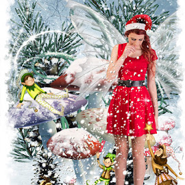 Christmas fairy by David Thompson - Digital Art People ( model, female, snow, digital manipulation, digital art, christmas, fairy, modelling, elves, fairytale, mushrooms,  )