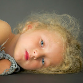 Blondie... by Martha Pope - Babies & Children Child Portraits ( child, blonde, girl, blue eyes, lipstick )