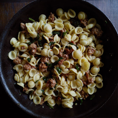 Orecchiette with Spicy Sausage and Ramps
