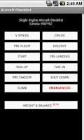 Screenshot of Aircraft Checklist