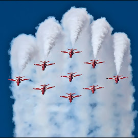 Diamond Nine by Tim Nicholson - Transportation Airplanes ( red arrows, riat, looping, fairford, diamond nine, raf, hawk )