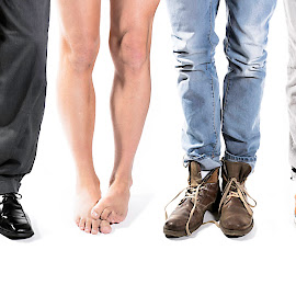 One of these is not like the others by Vic Bouchard - People Body Parts ( shoes, contrast, individual, dress, naked, pants, casual, emarrassed, legs, ashamed, business )