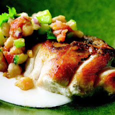 Cook the Book: Pan-Roasted Striped Bass with Tunisian Chickpea Salad and Yogurt Sauce