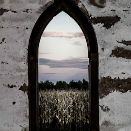 Looking thru an One Room School House Window by Greg Sommer - Buildings & Architecture Architectural Detail