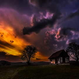 Fire in the sky by Andrei Grososiu - Landscapes Sunsets & Sunrises ( old, sky, sunset, romania, house, holbav )