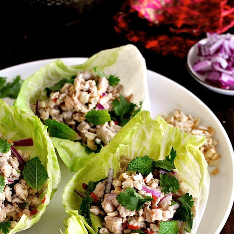 Chicken Larb – Thai style mince served in lettuce cups Recipe ...