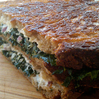 Grilled Goat Cheese and Kale Sandwich