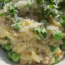 Easy Sausage and Pea Orzo Risotto