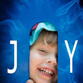 Joy by Tim Davies - Digital Art People ( girl, blue, joy, peek, happiness, smile, smoke )