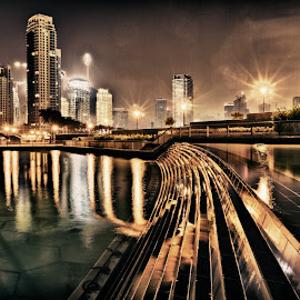 City of Dubai by Night by Samsara Superstarsmith - City,  Street & Park  Night ( city night dubai canon exposure )