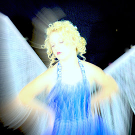 Angel In Blue by Beth Schneckenburger - People Fashion ( angel, girl, heaven, blured, wings )