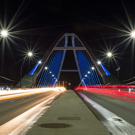 FlyBy by Evan Miles - Buildings & Architecture Bridges & Suspended Structures ( iso 100, d3200, architecture, 18-55mm, lowry ave, city, lights, f/25, minneapolis, kit lens, night, long exposure, bridge, nikon, 30mm )