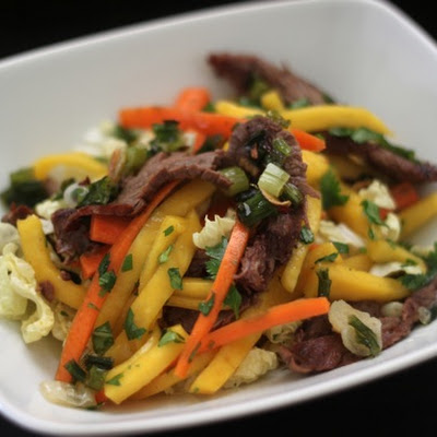 Flank Steak and Mango Slaw with Scallion Garlic Oil